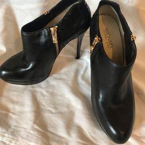 Michael Kors Black Snakeskin & Leather Booties